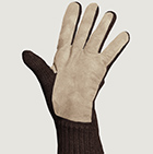 Brown-Beige Alpaca Double Layer Driving Gloves