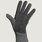 Grey-Grey Alpaca Double Layer Driving Gloves