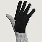 Lt.Grey-Black Alpaca Double Layer Driving Gloves